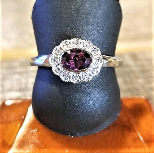 Ready to ship rhodolite garnet and diamond halo ring in 14k white gold