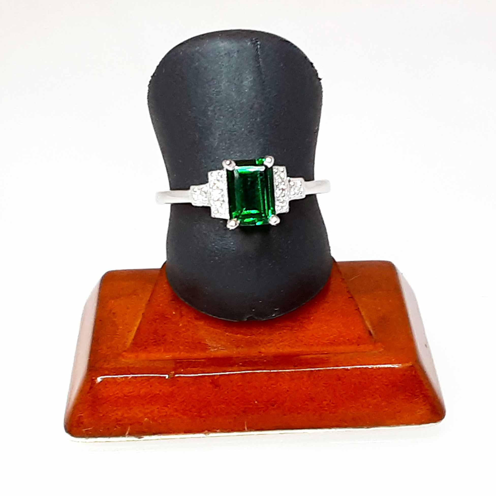 Ready to ship lab created emerald and diamond emerald cut ring in 14k white gold