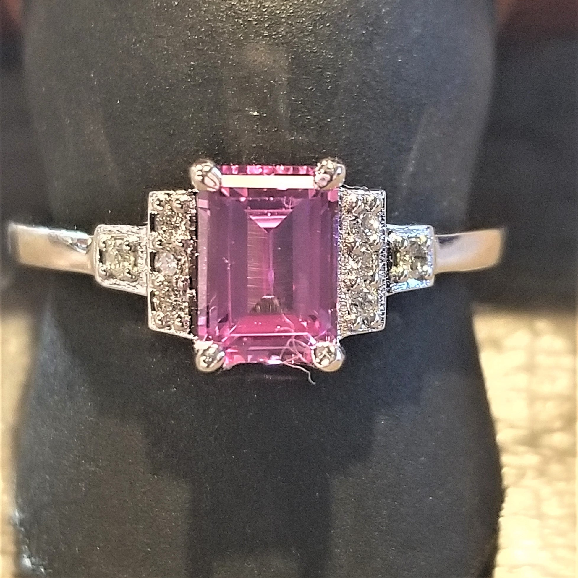 Ready to ship lab created pink sapphire and diamond emerald cut ring in 14k white gold