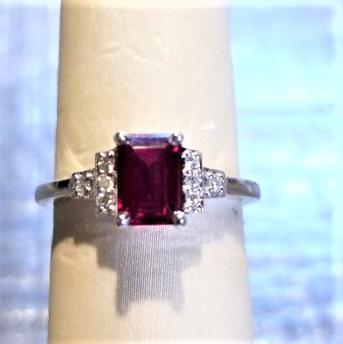 Ready to ship lab created ruby and diamond emerald cut ring in 14k white gold