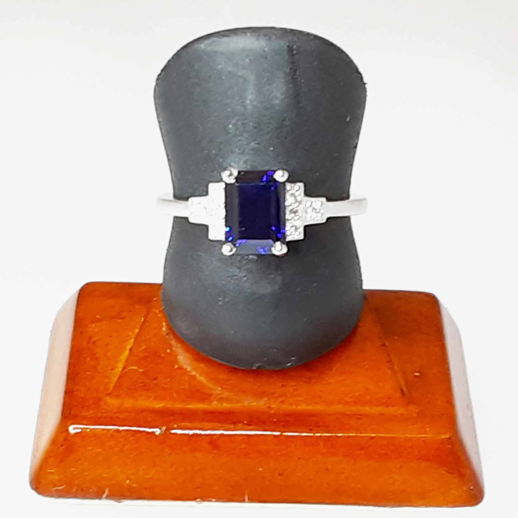 Ready to ship lab created sapphire and diamond emerald cut ring in 14k white gold