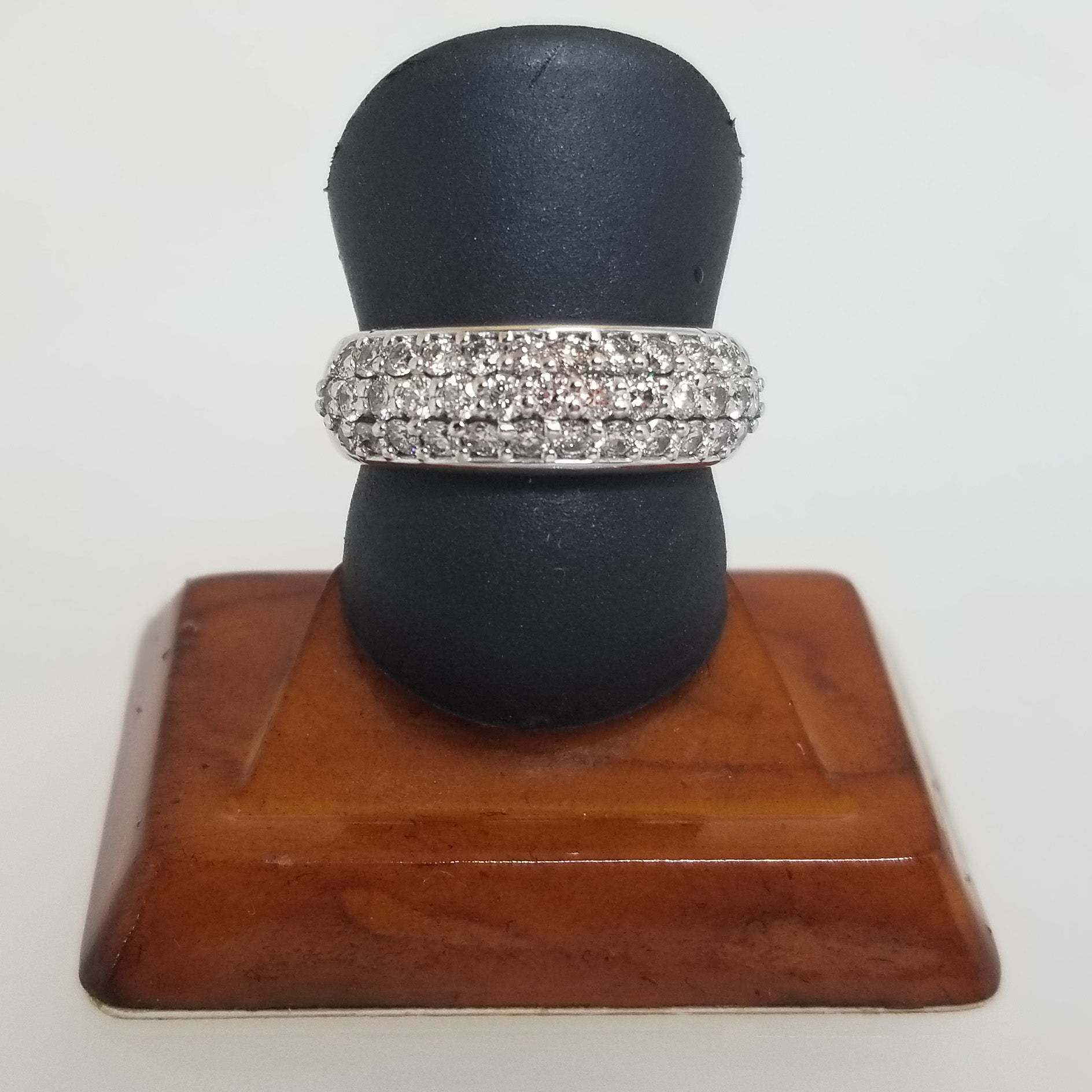 Ready to ship One carat diamond pavé band in 14k white gold