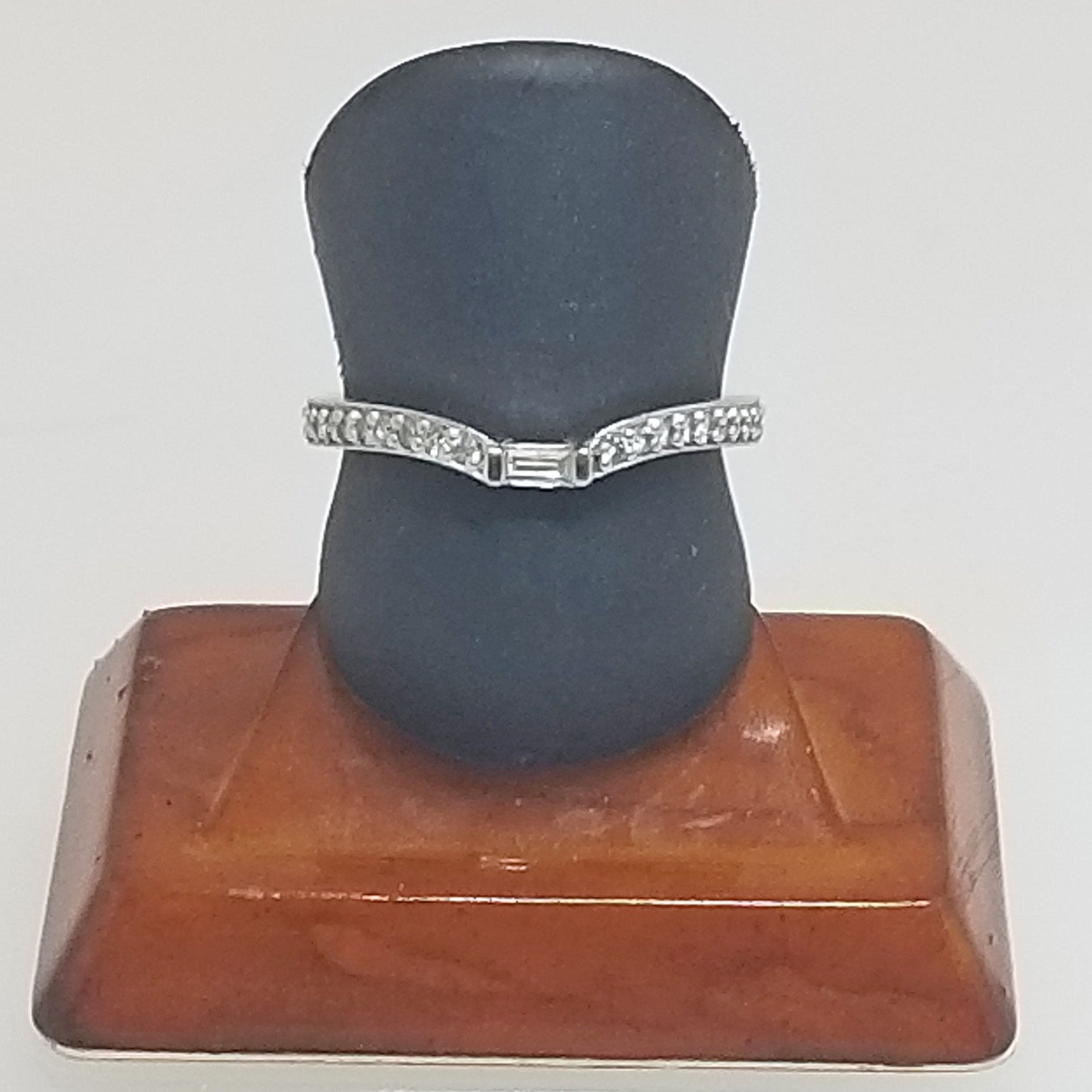 Ready to ship notched diamond wedding band in 14k white gold