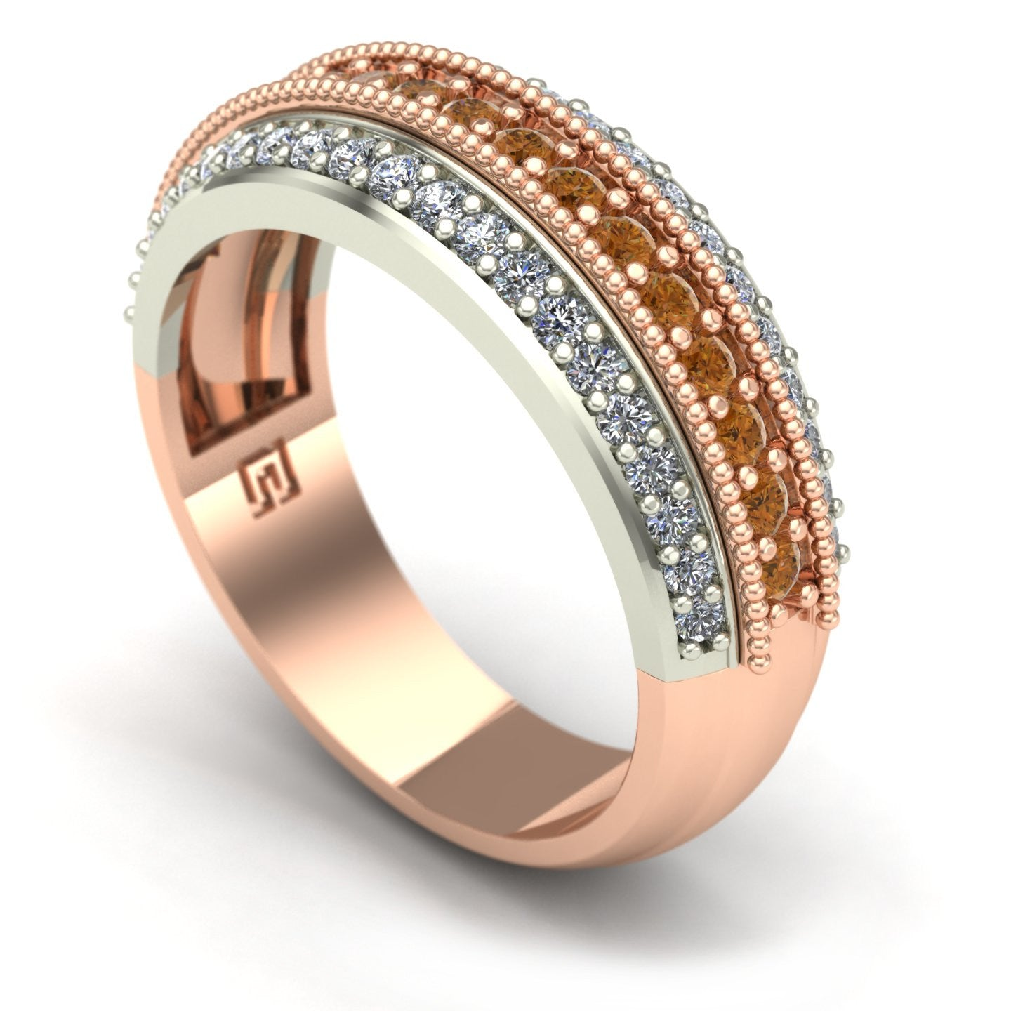 Cognac and white diamond band in 14k rose and white gold