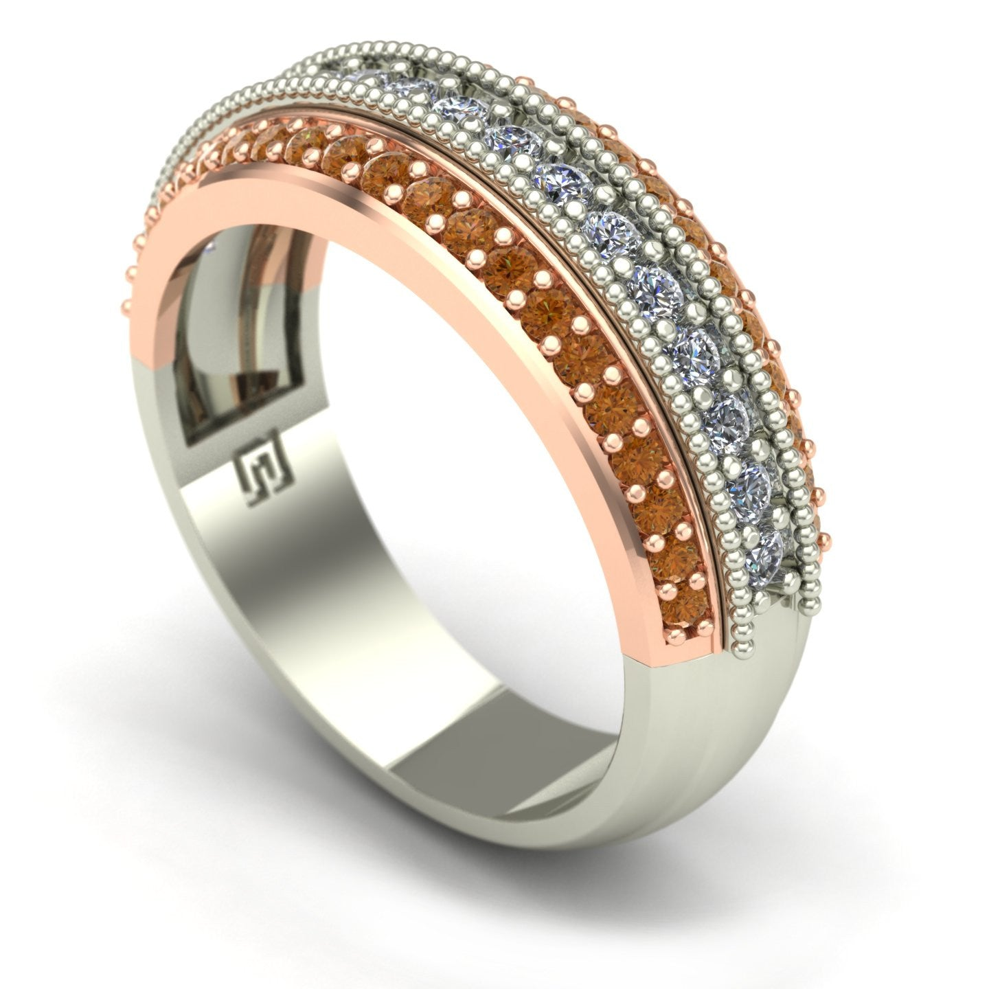 White and cognac diamond band in 14kwhite and rose gold