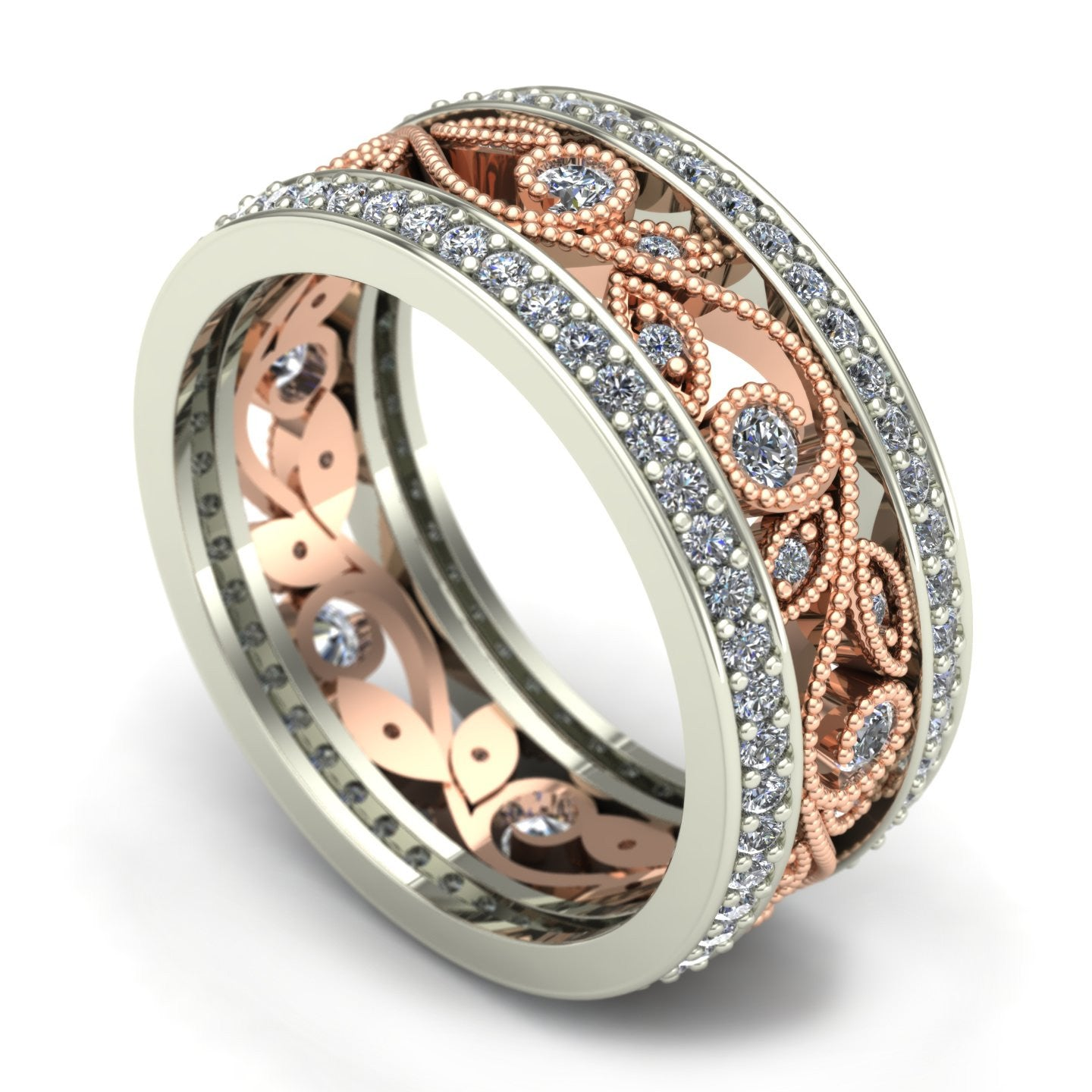 Diamond floral wedding band in 14k rose and white gold