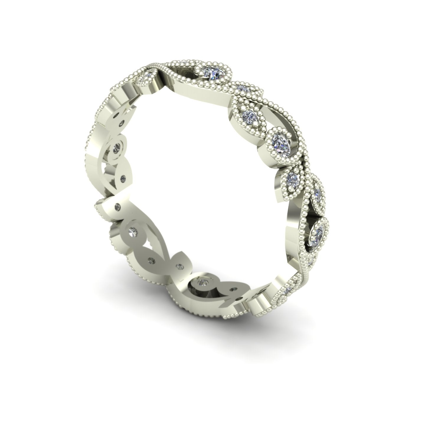 Diamond floral thin wedding band in 14k white gold