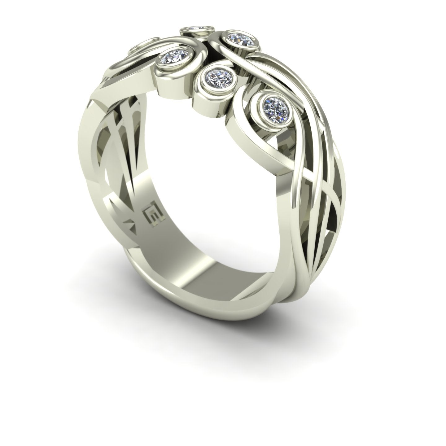Diamond elf filigree scroll wedding band in 14k white gold