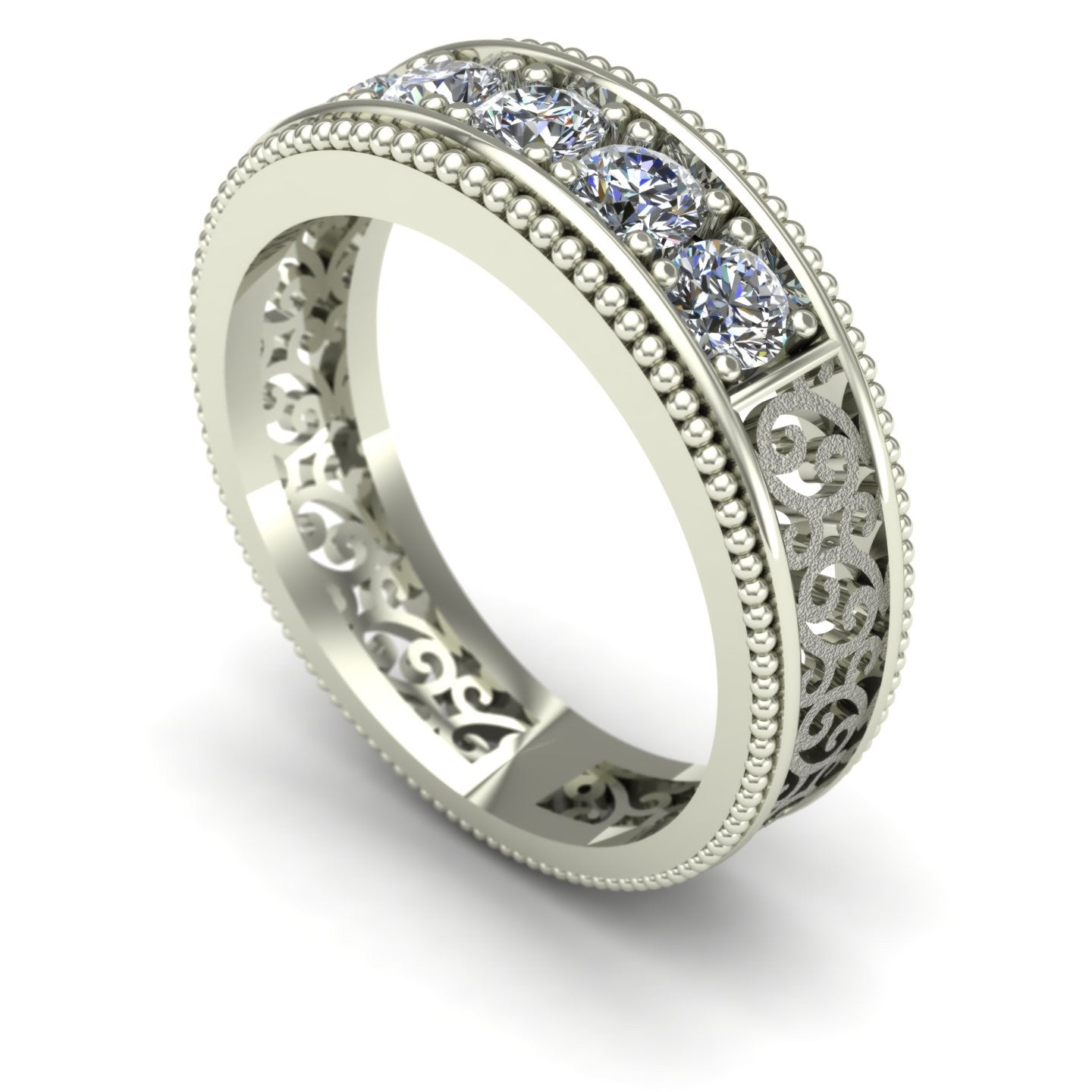 Sandblasted Scroll Filigree Diamond Wedding Band in 14k White Gold
