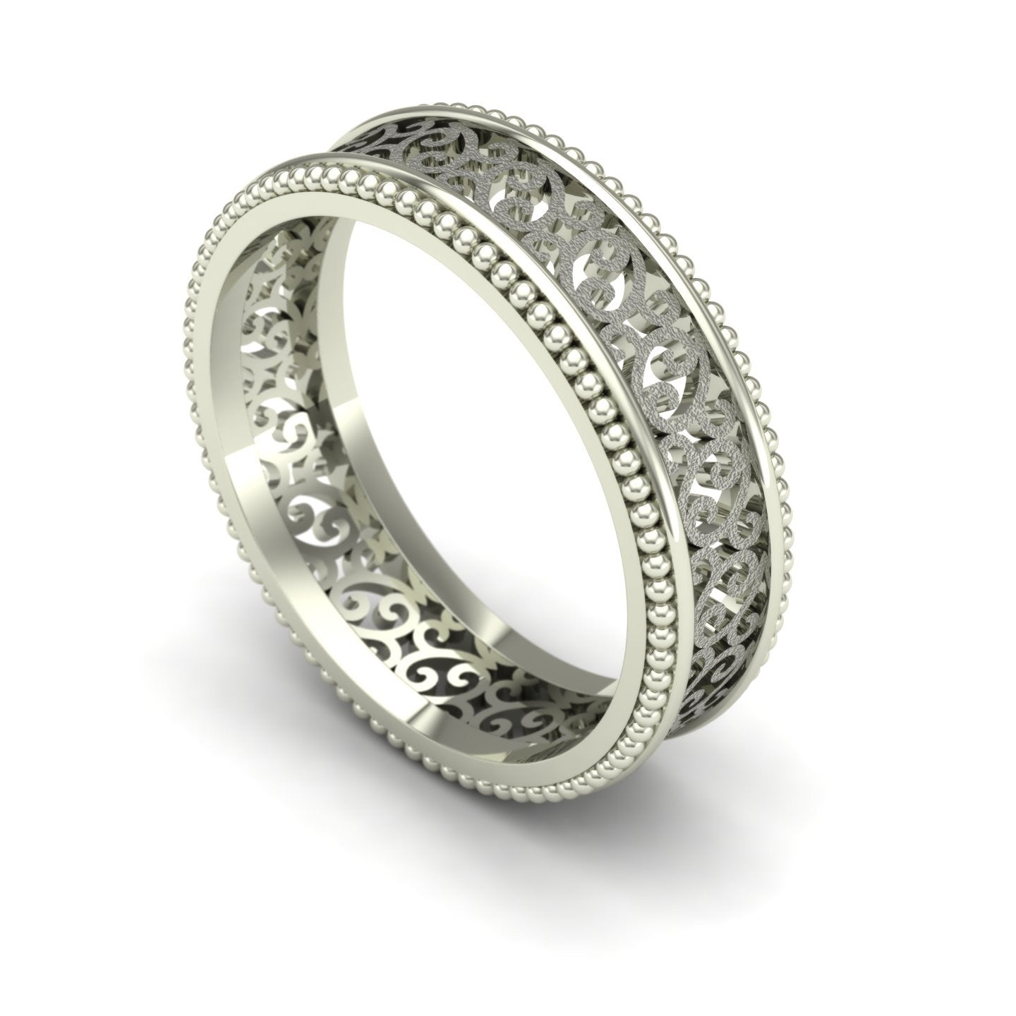 Sandblasted Scroll Filigree Wedding Band in 14k White Gold