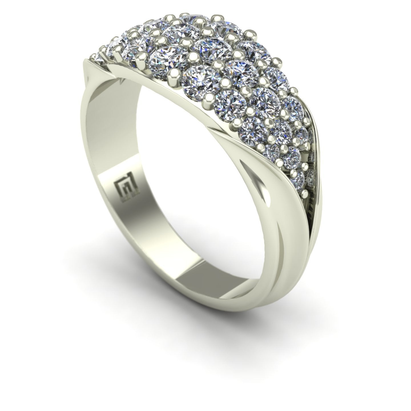 One carat diamond pavé band in 14k white gold