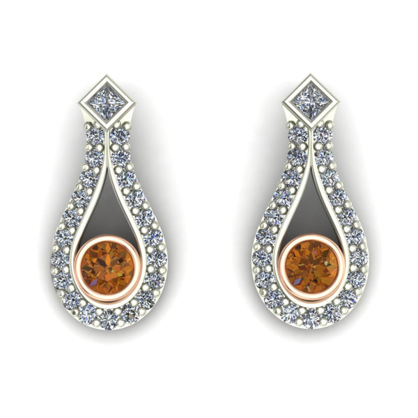 Cognac diamond earrings in 14k rose and white gold