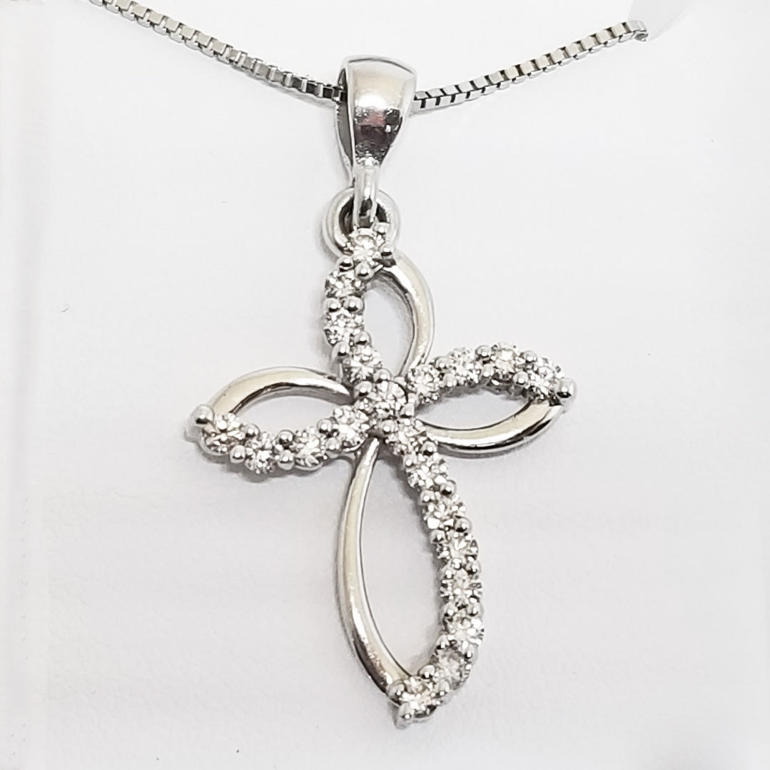 Ready to ship diamond infinity cross pendant in 14k white gold