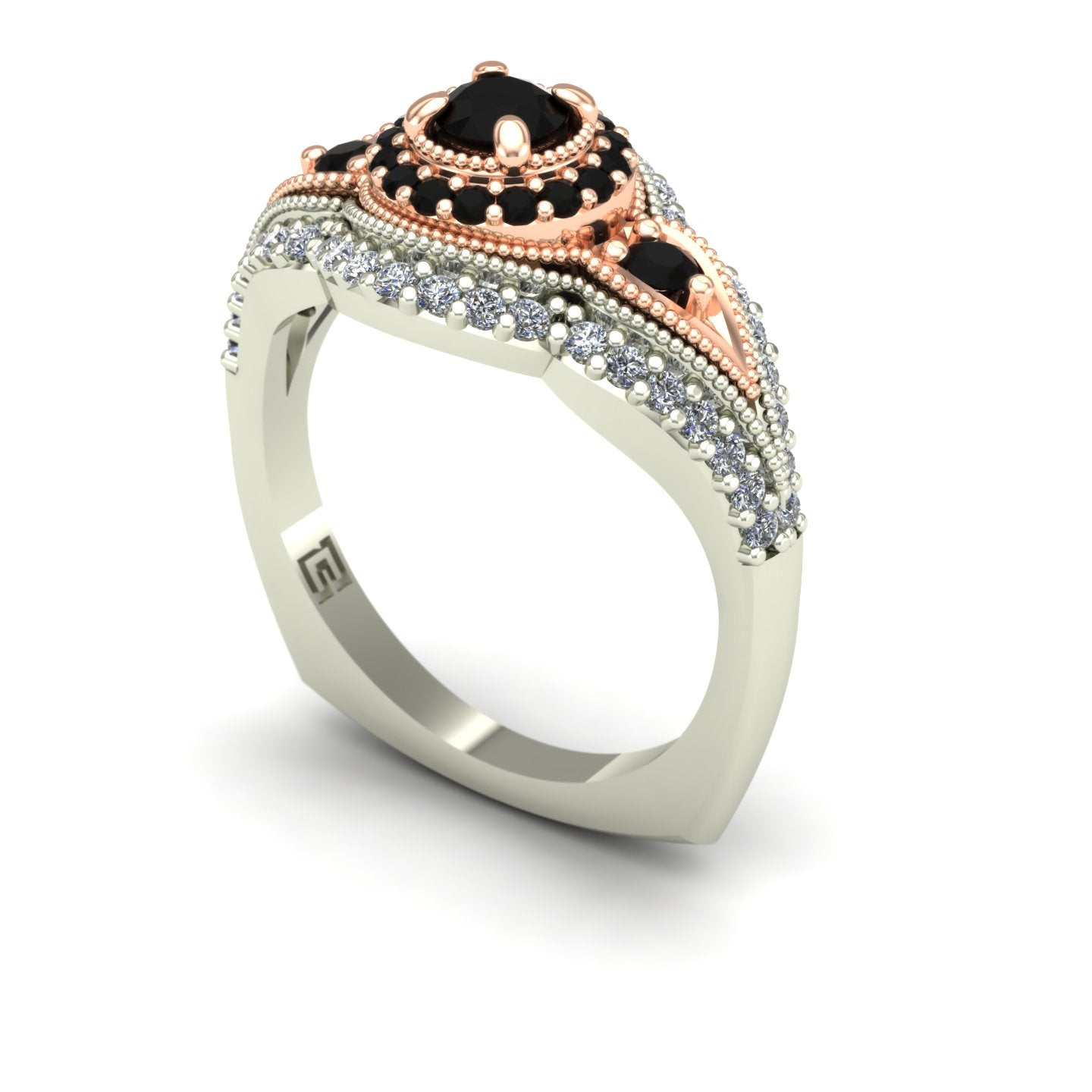 Black diamond two tone engagement ring in 14k white and rose gold