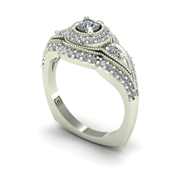 Diamond halo engagement ring with diamond border in 14k white gold