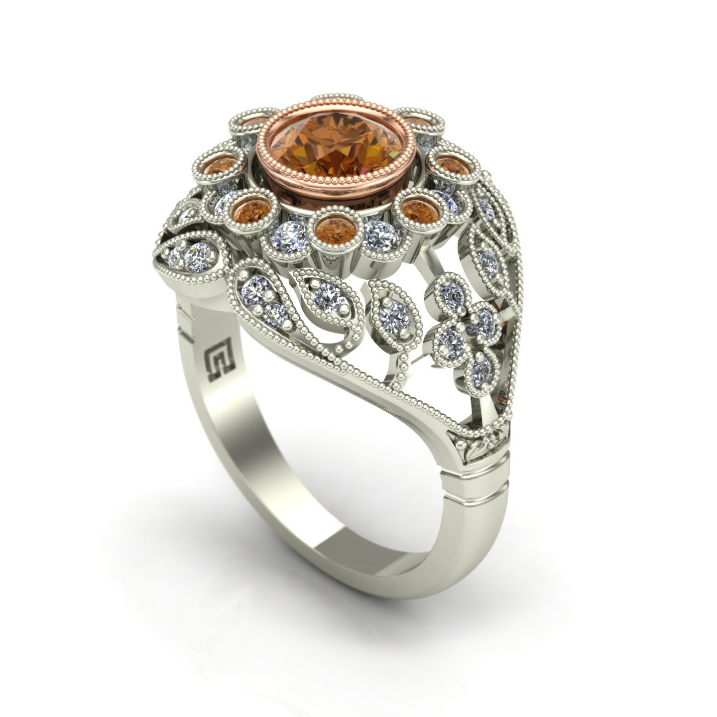 Cognac and white diamond bezel ring in 14k rose and white gold
