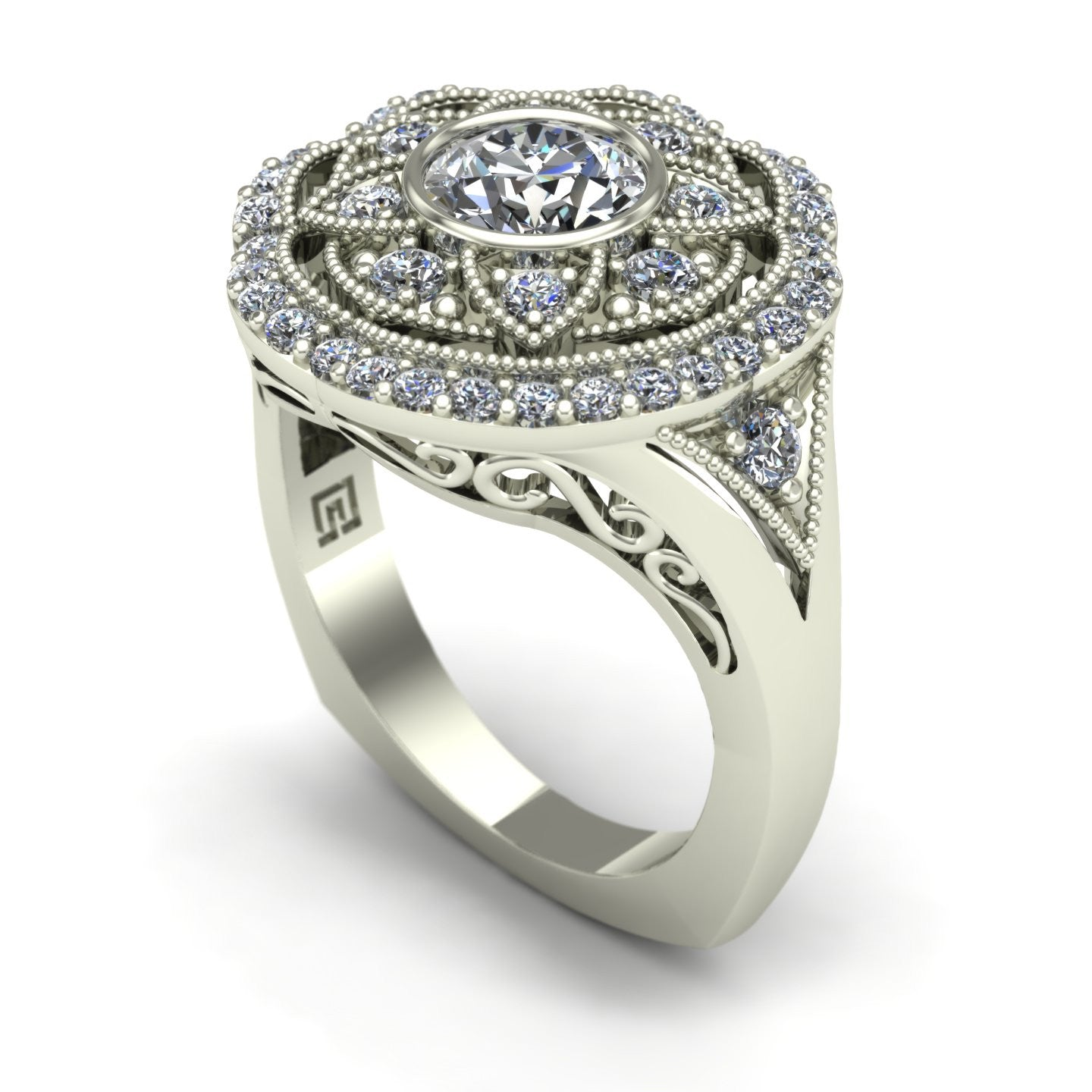 Diamond right hand ring with a vintage look in 14k white gold