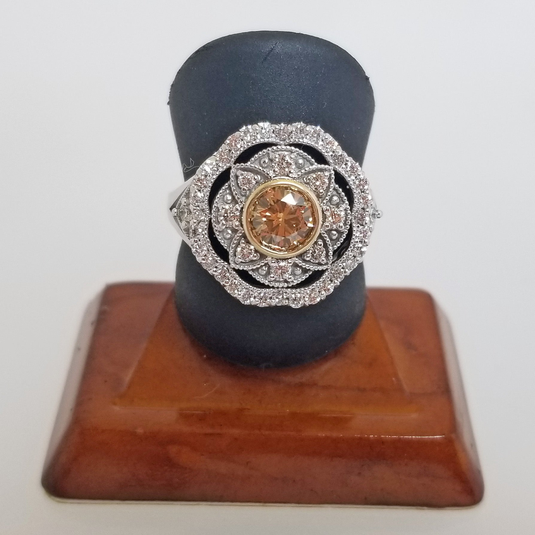 Ready to ship Cognac Diamond right hand ring with a vintage look in 14k yellow and white gold