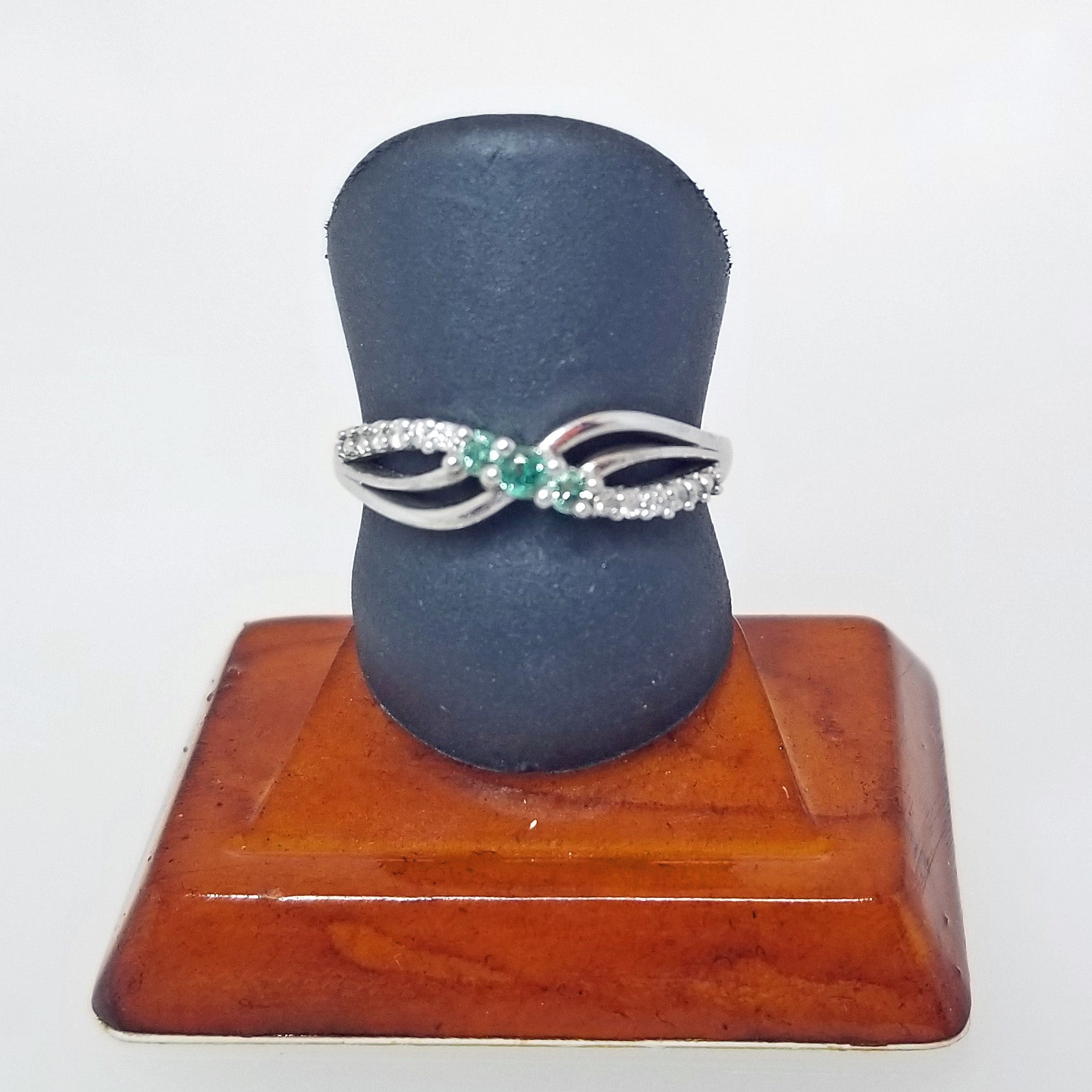 Ready to ship emerald and diamond three stone ring in 14k white gold
