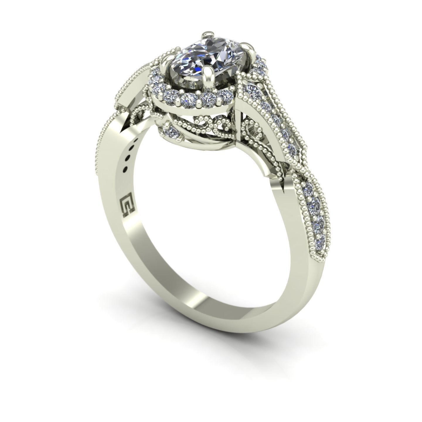 Oval diamond vintage style engagement ring in 14k white gold
