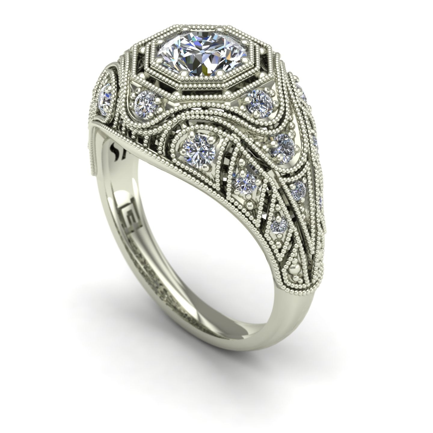 Vintage style diamond ring in 14k white gold