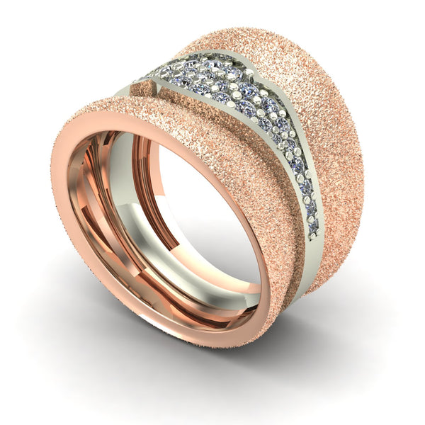 Diamond pavé cigar band ring in 14k rose and white gold