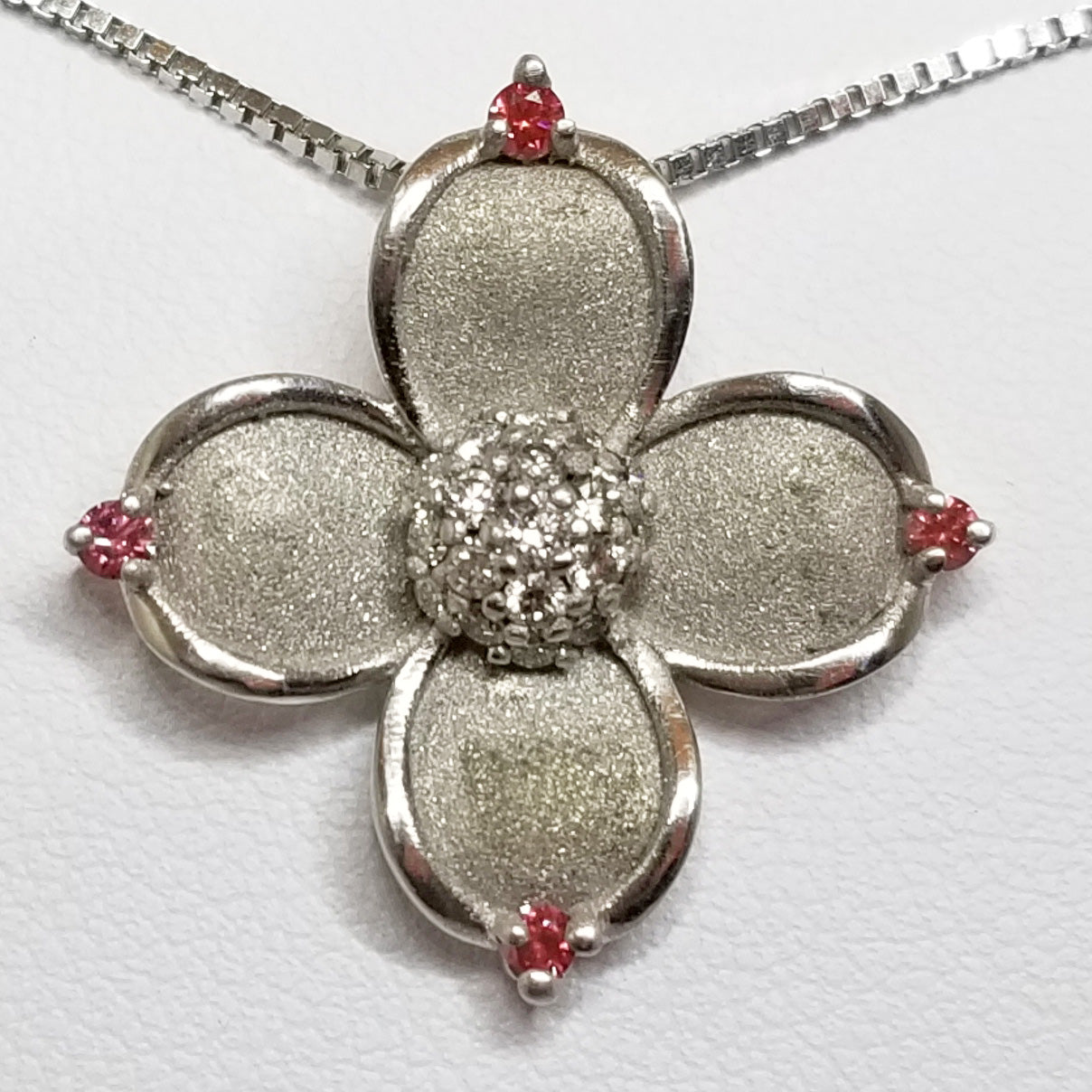 Ready to ship pink diamond dogwood flower pendant in 14k white gold