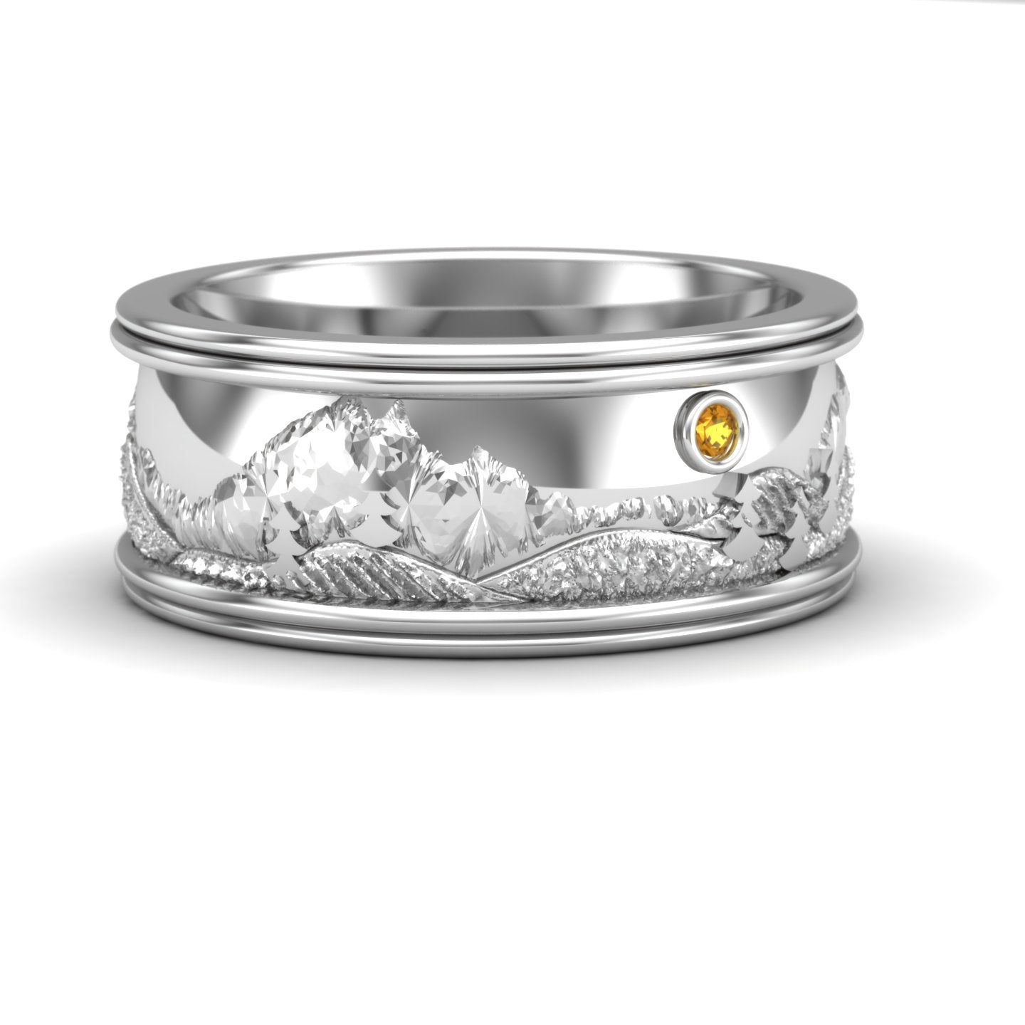 Rocky Mountain Wedding Band in Sterling Silver