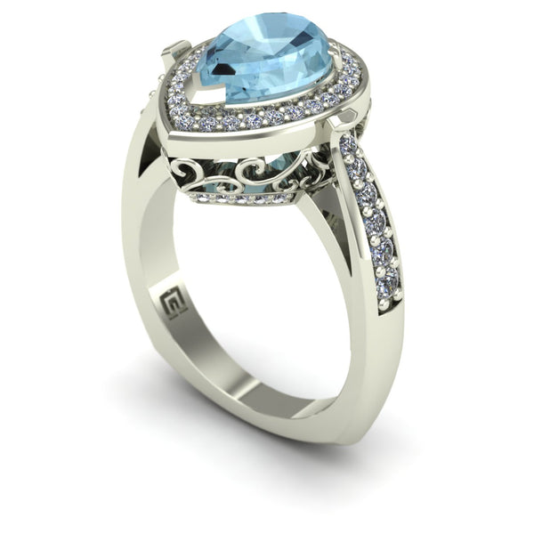 Aquamarine and diamond pear scroll ring in 14k white gold