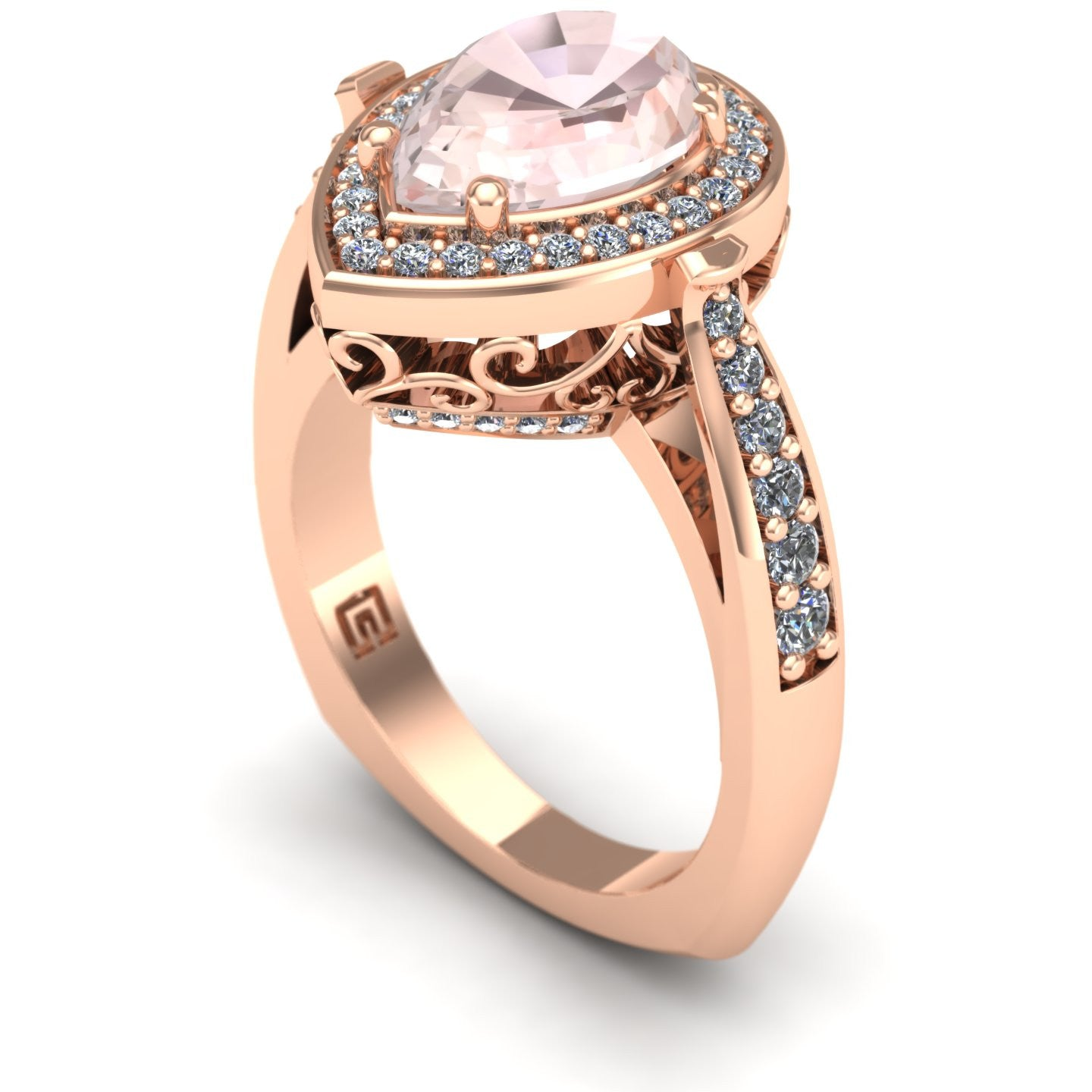 Morganite and diamond pear scroll ring in 14k rose gold