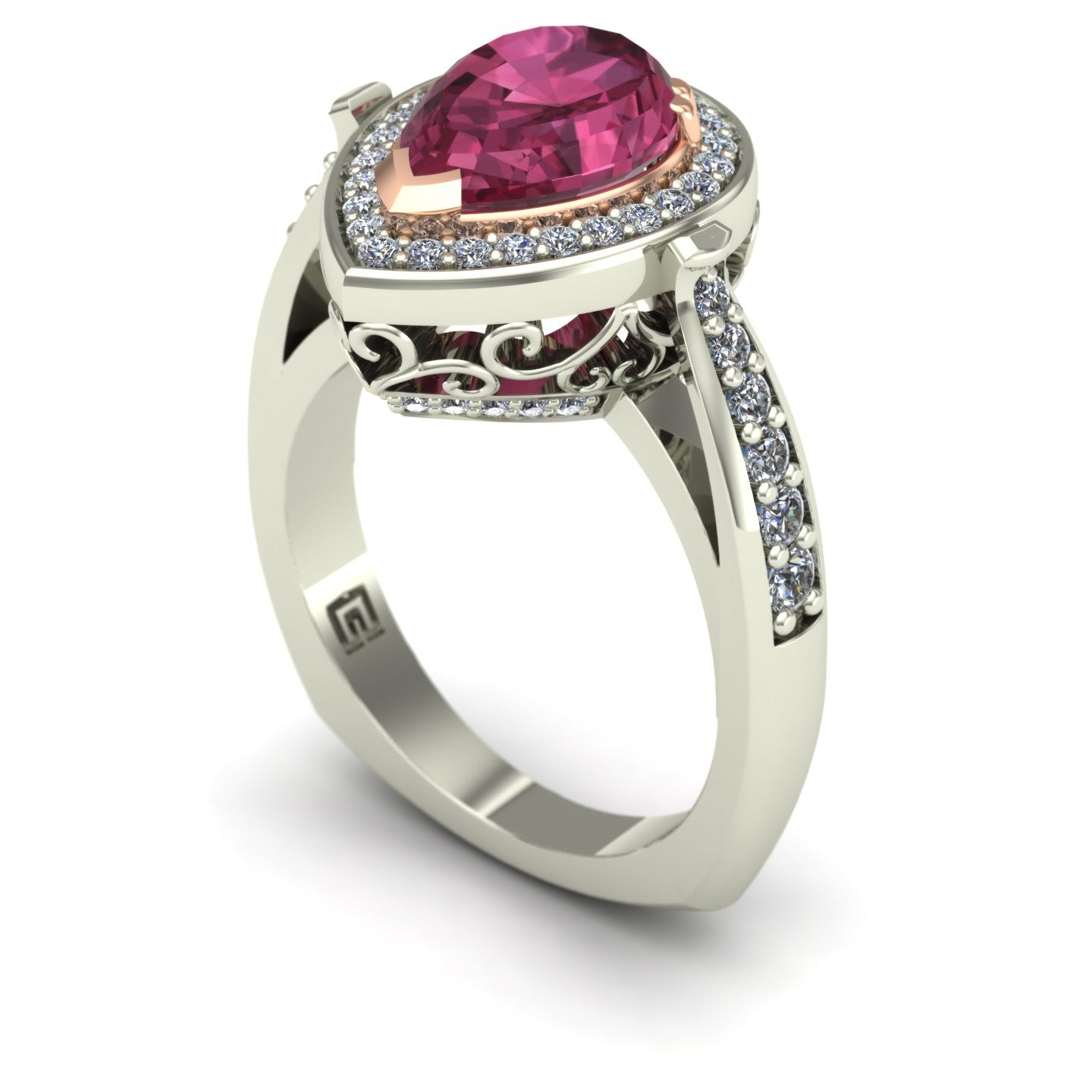 Pink tourmaline and diamond pear scroll ring in 14k rose and white gold