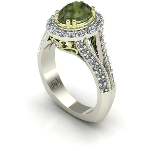 Green tourmaline and diamond oval scroll ring in 14k green and white gold