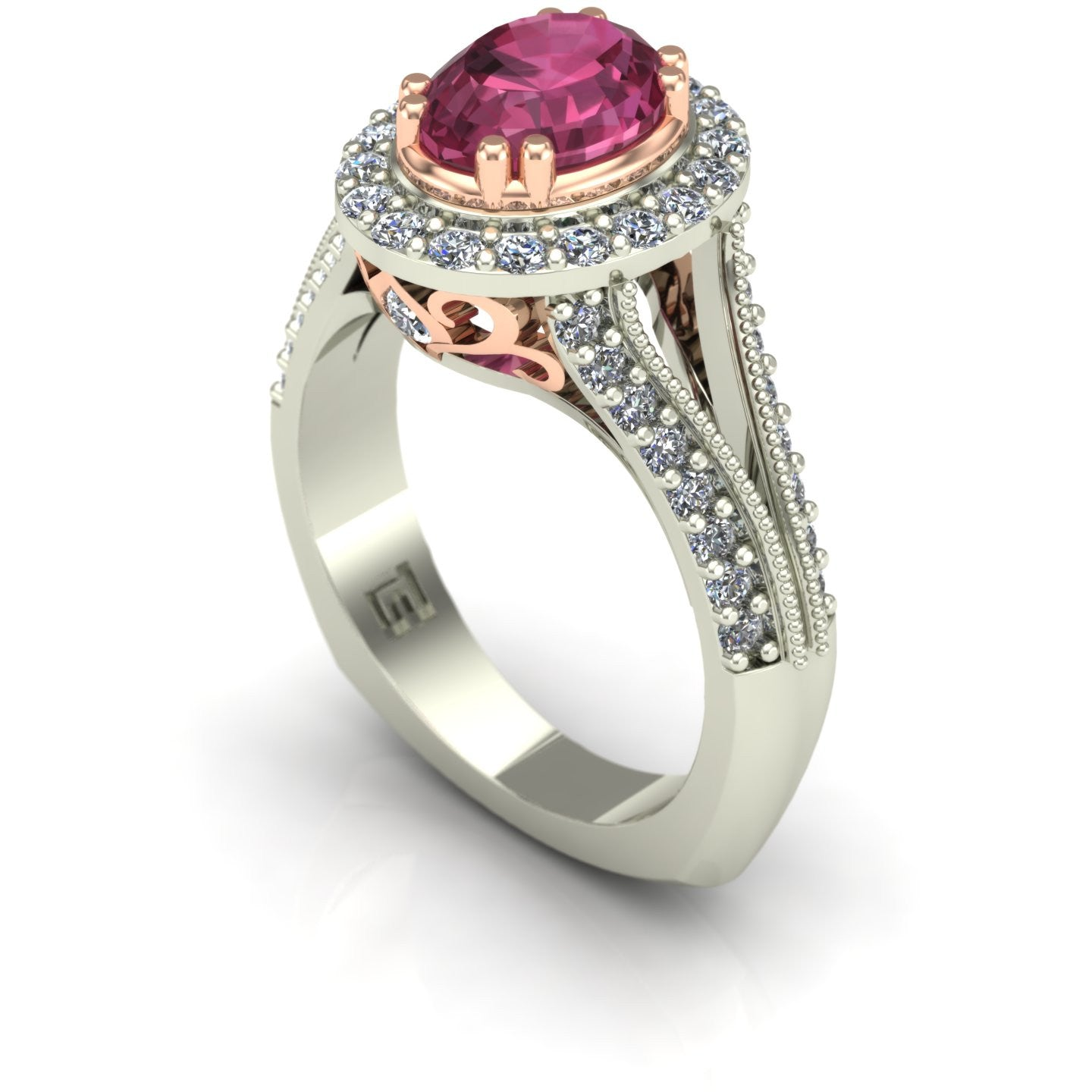 Pink tourmaline and diamond oval scroll ring in 14k rose and white gold