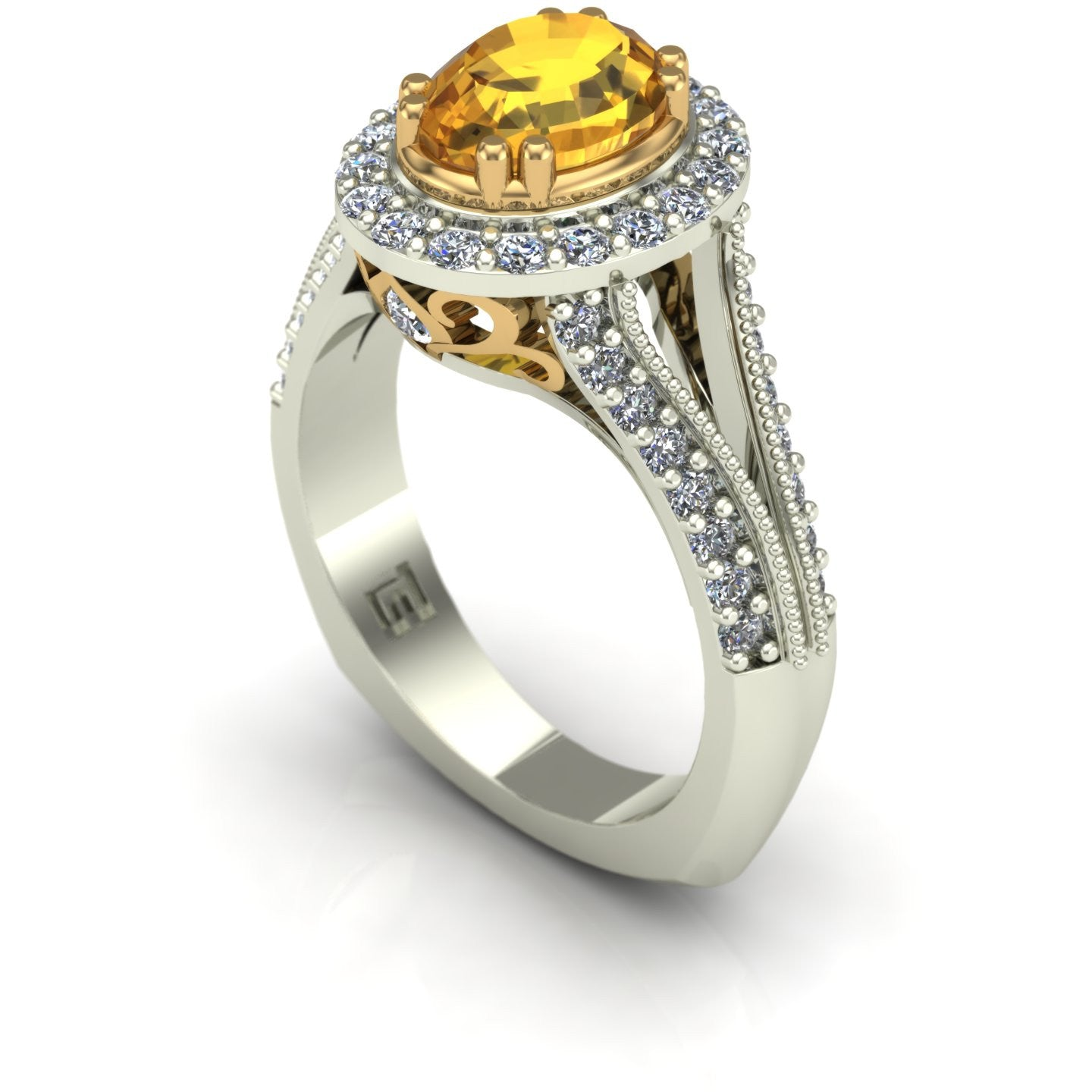 Yellow sapphire and diamond oval scroll ring in 14k yellow and white gold