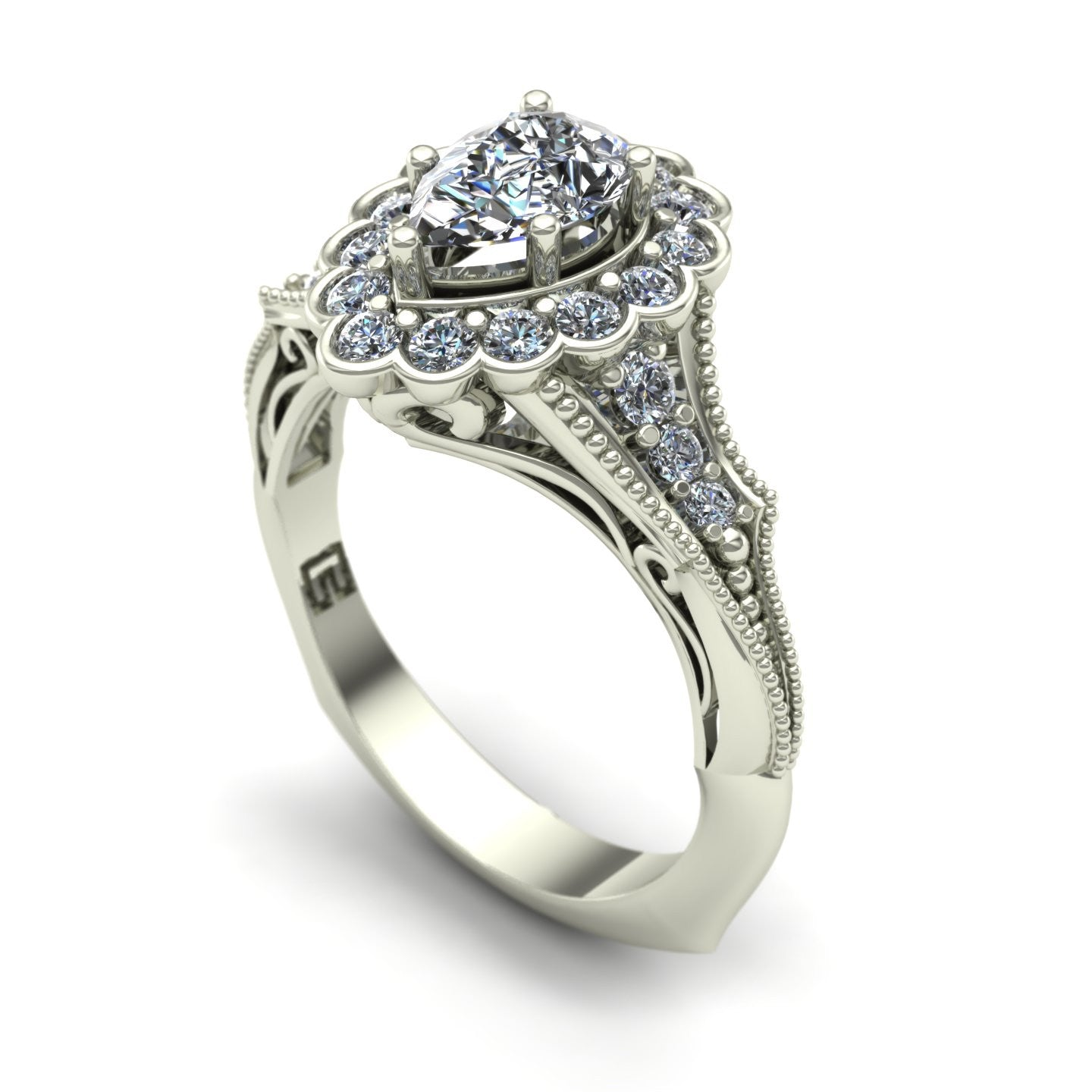 Pear-cut diamond engagement ring in 18k white gold