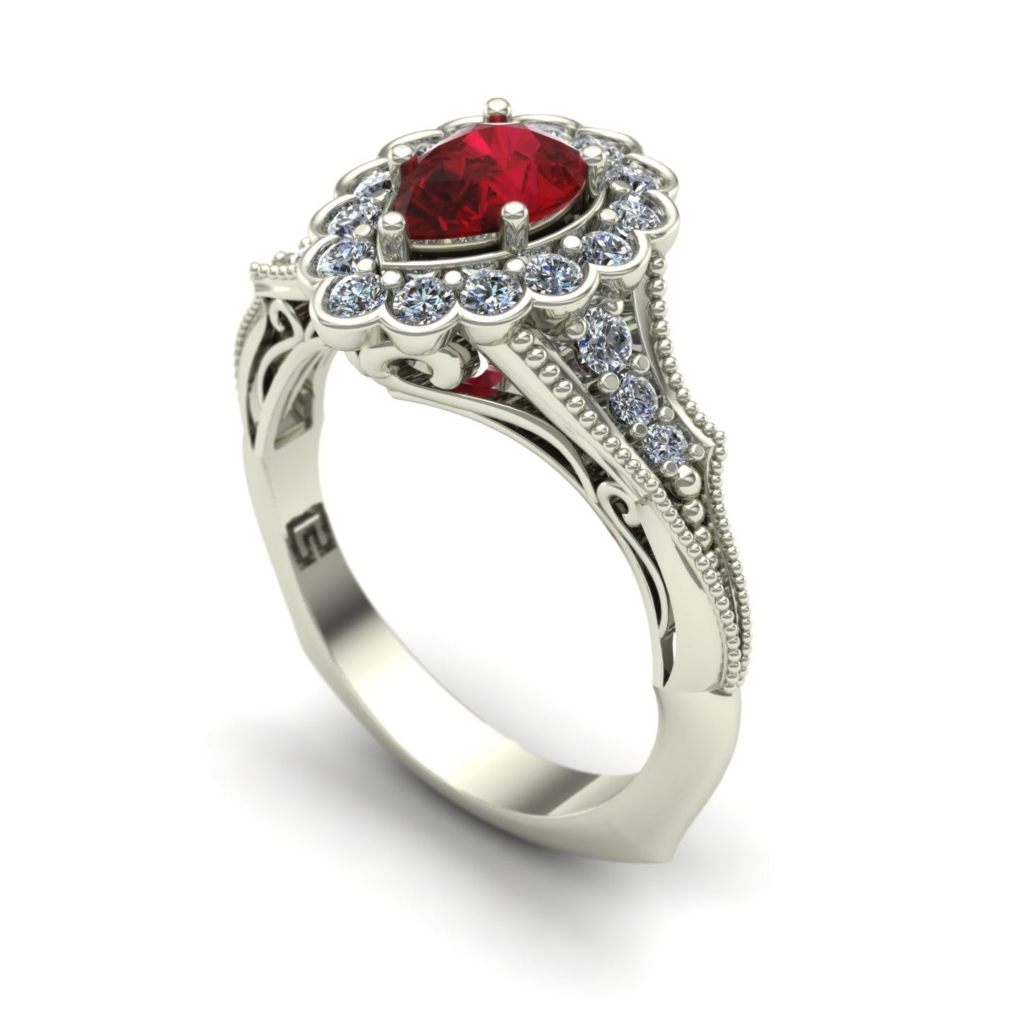 Ruby and diamond pear vintage ring in 18k white gold