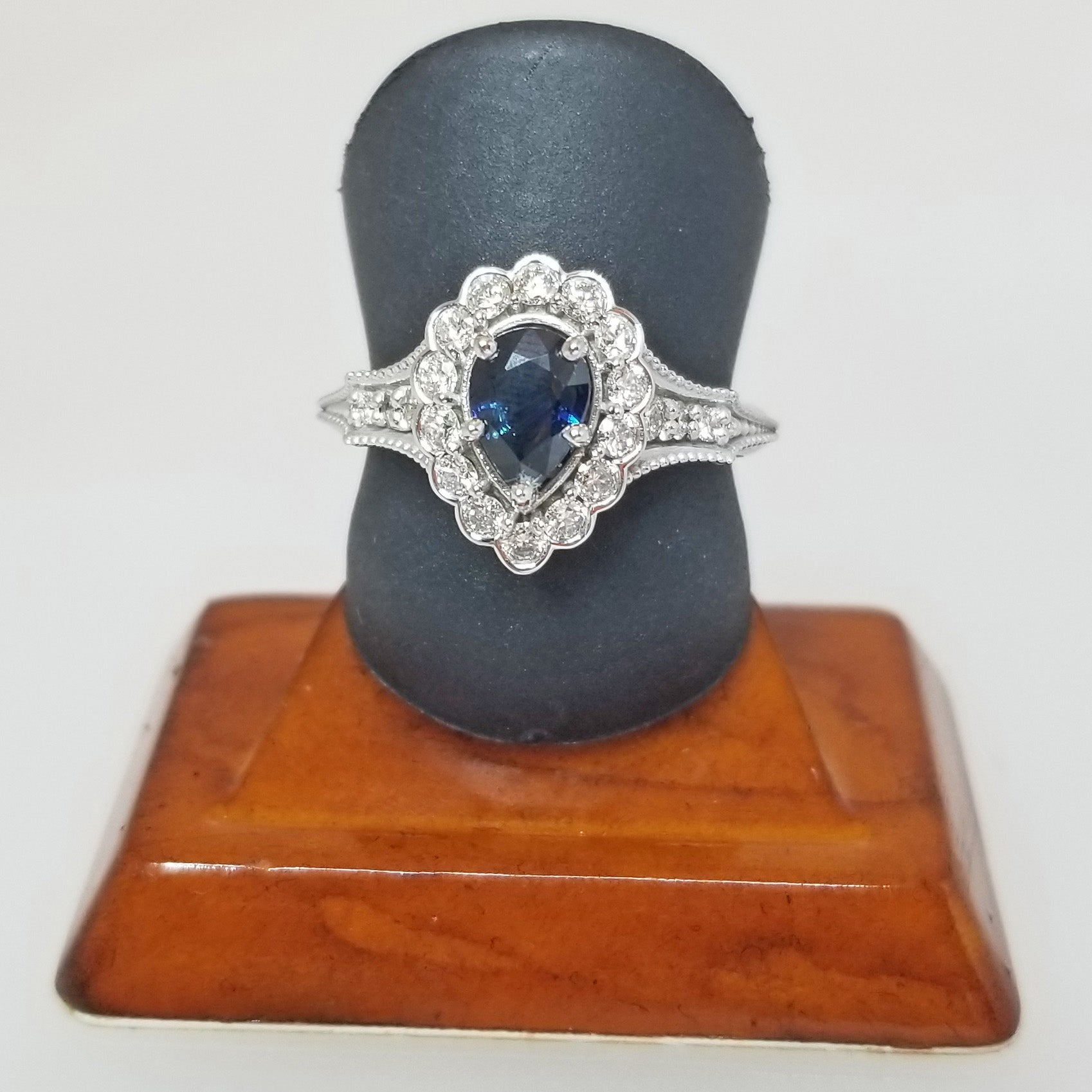 Ready to ship Blue sapphire and diamond pear vintage ring in 14k white gold