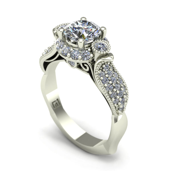 Diamond pavé engagement ring in 18k white gold