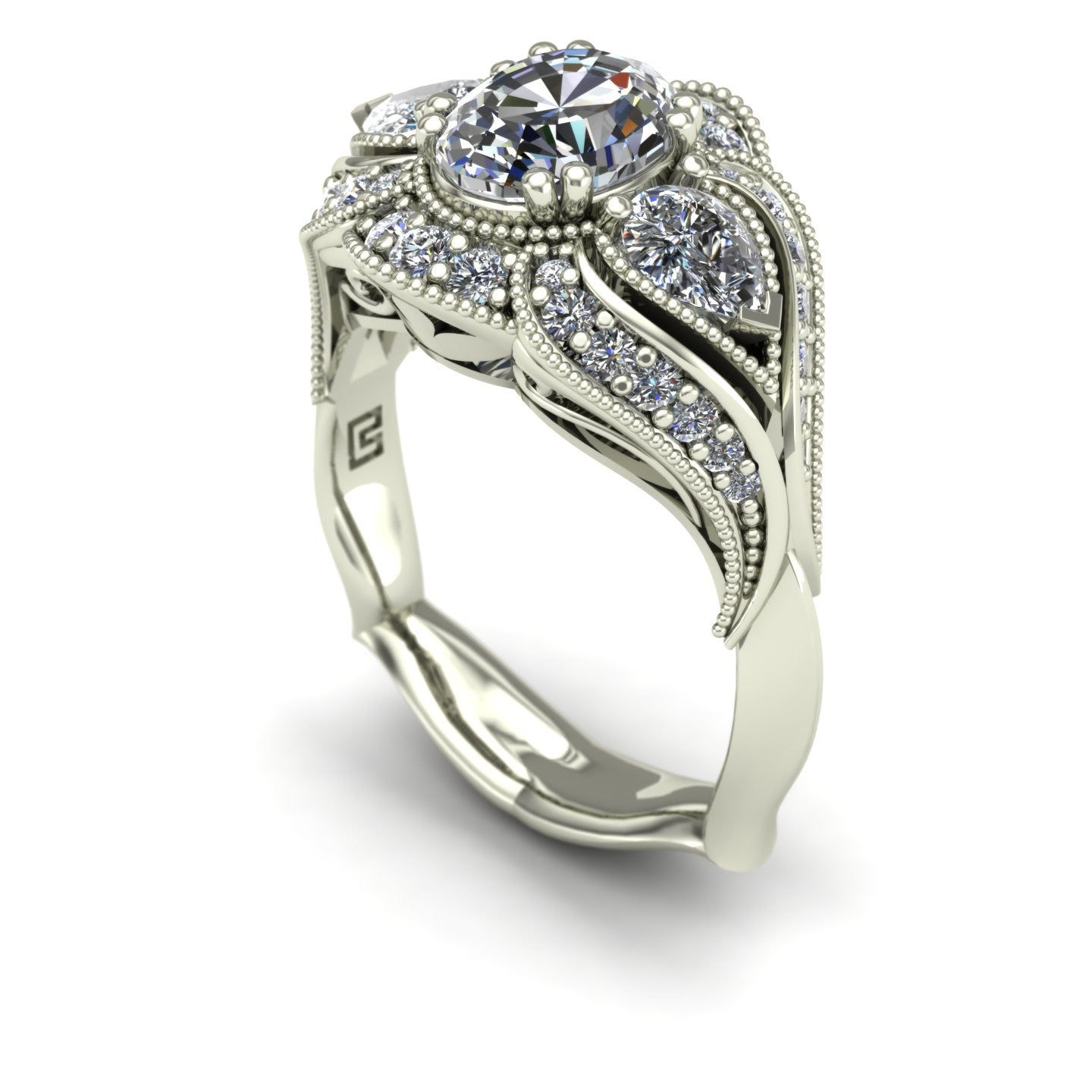Oval diamond engagement ring in 18k white gold