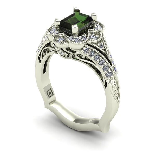 Green tourmaline and diamond emerald cut ring in 14k white gold