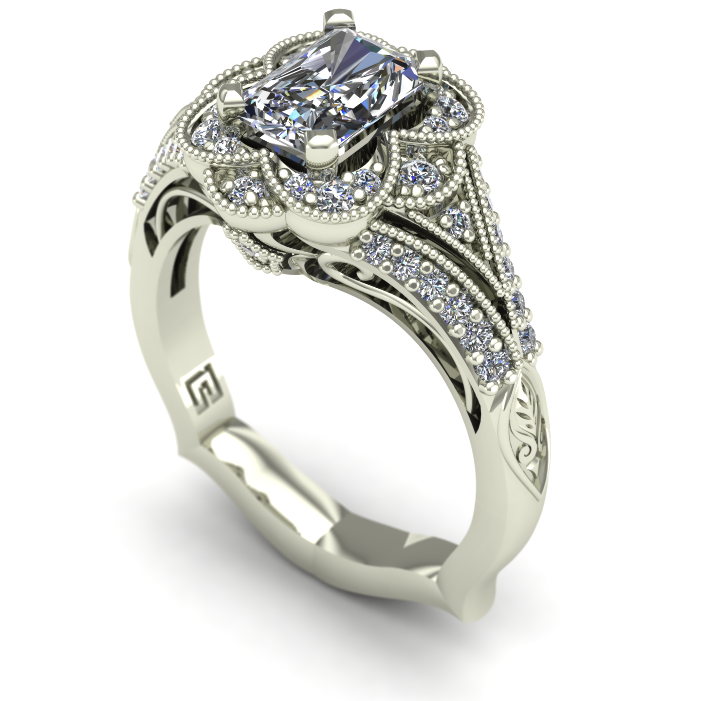 Radiant-cut diamond engagement ring in 14k white gold