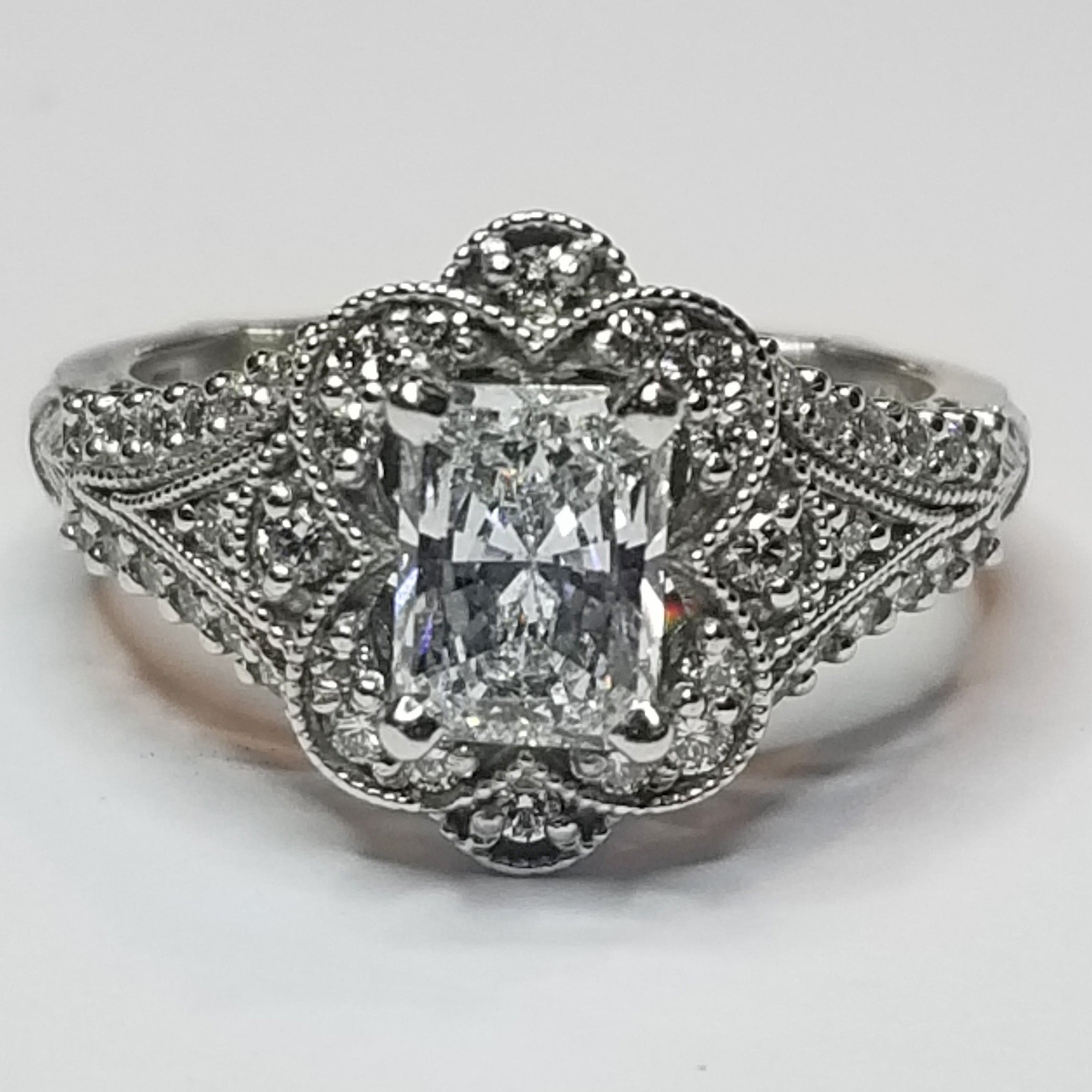 Ready to ship radiant-cut diamond engagement ring in 14k white gold