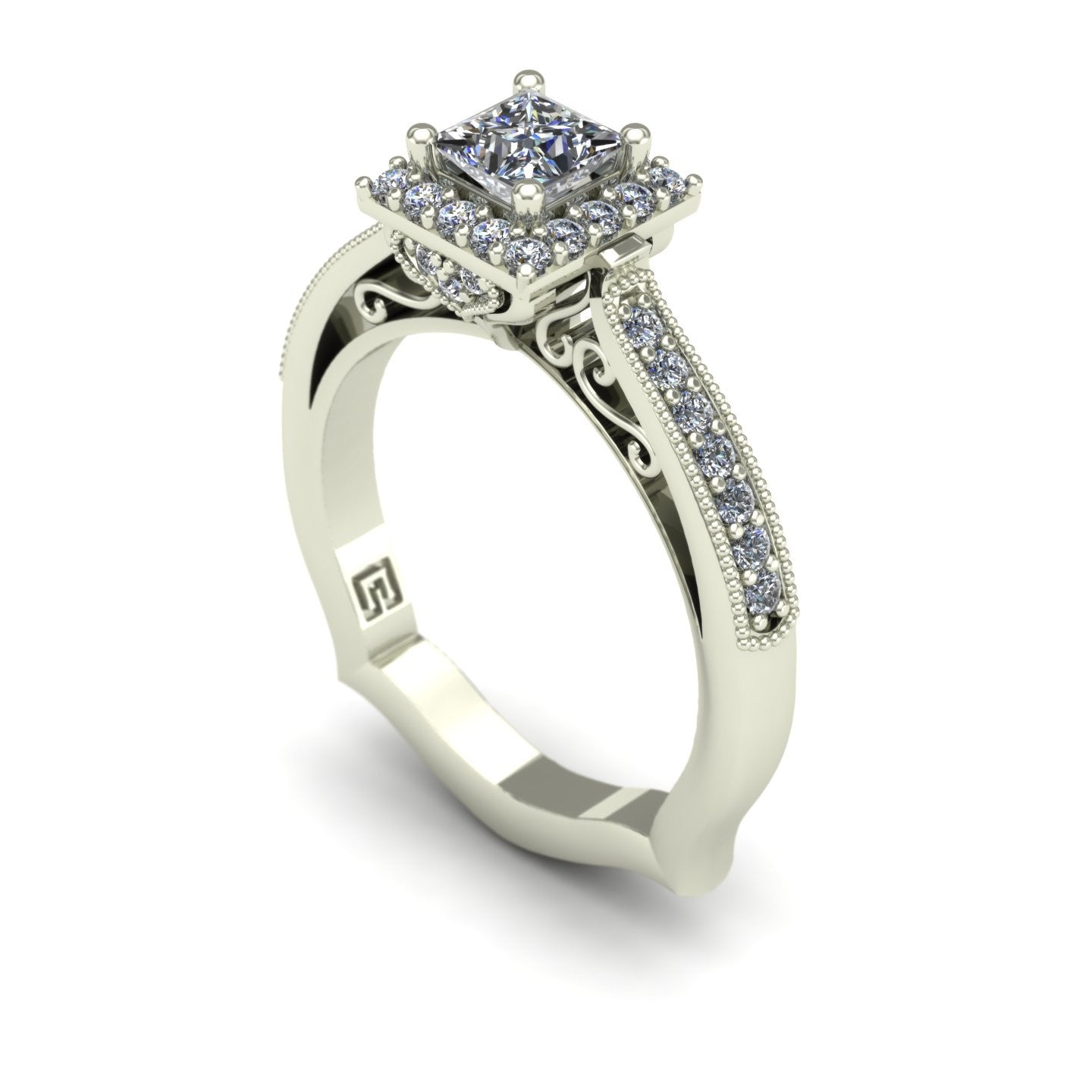 Princess diamond halo engagement ring in 14k white gold