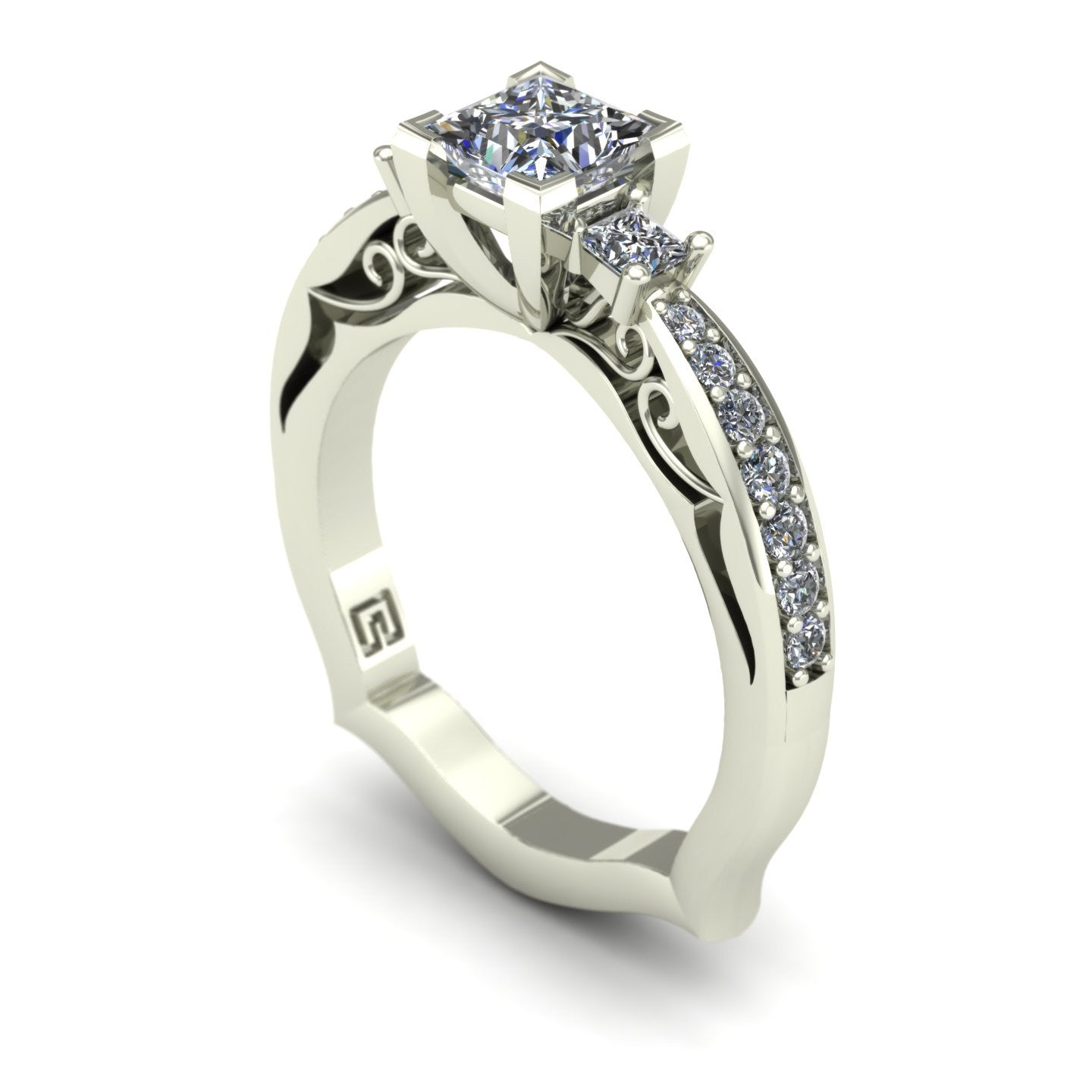 Princess diamond engagement ring in 14k white gold