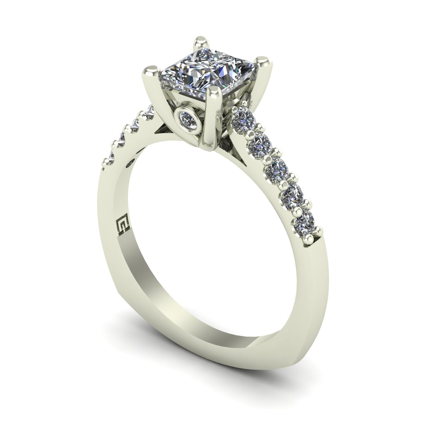 Princess diamond simple engagement ring in 14k white gold