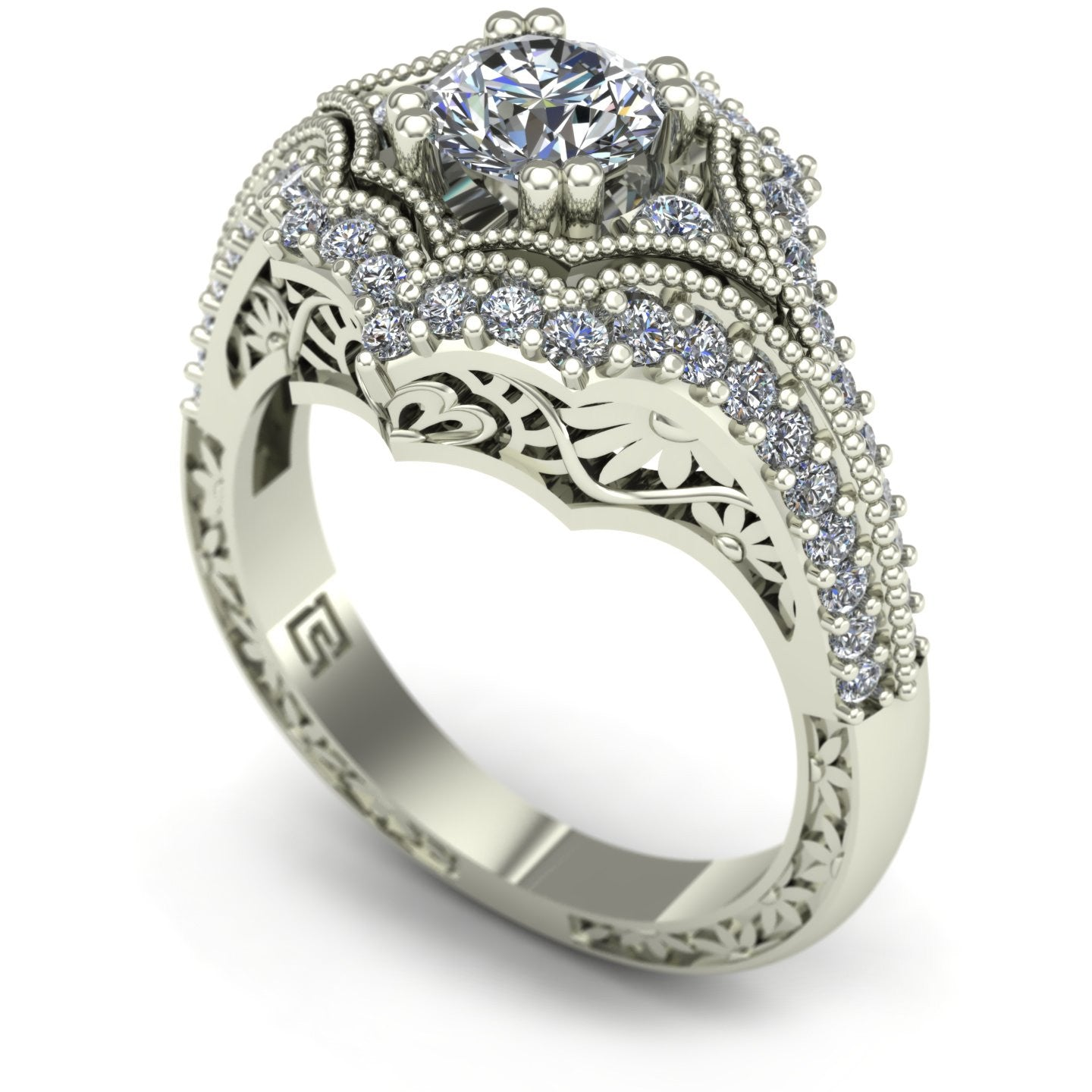 Diamond engagement ring with floral carving in 14k white gold