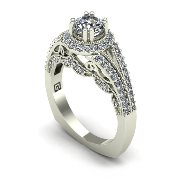 Diamond engagement ring with scallop design in 14k white gold