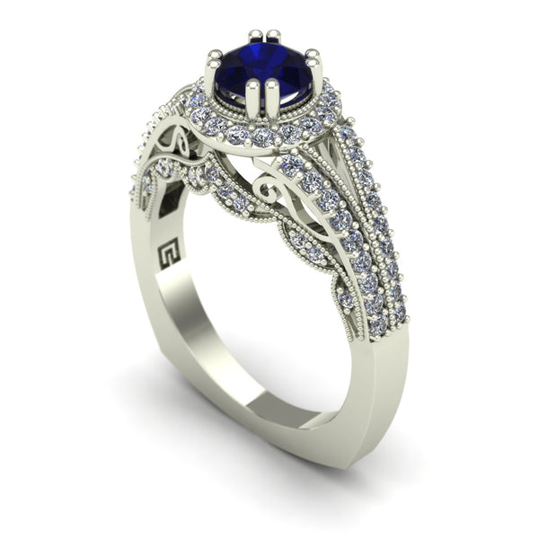 Blue sapphire and diamond scallop ring in 14k white gold