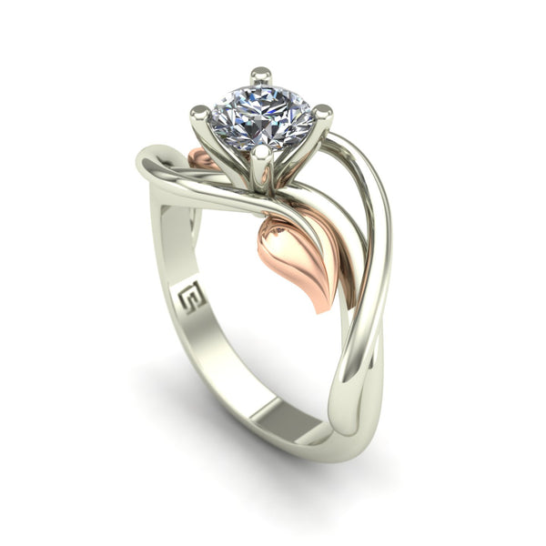 Diamond solitaire engagement ring with leaves in 14k rose and white gold