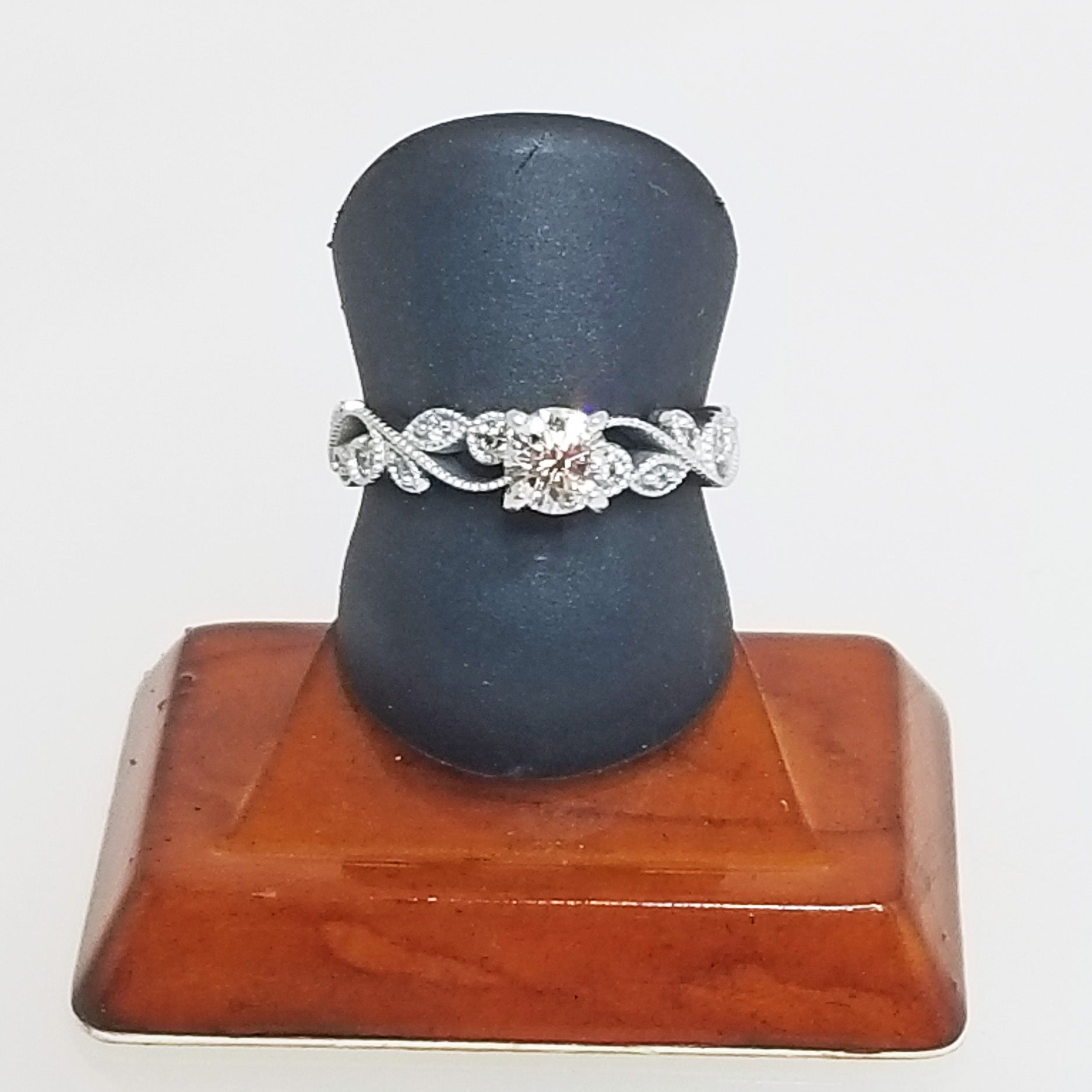 Ready to ship Diamond solitaire floral engagement ring in 14k white gold